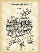 Mechanism Digital Art Prints - Jet Engine Patent Print by Stephen Younts