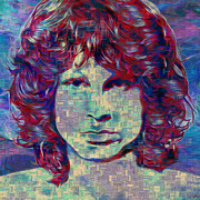 Jim Morrison Digital Art Prints - Jim Morrison Print by Jack Zulli