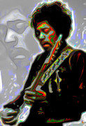 Guitar Digital Art Originals - Jimi Hendrix by Byron Fli Walker
