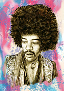Singer And Musicians Art Framed Prints - Jimi Hendrix stylised pop art drawing potrait poster Framed Print by Kim Wang