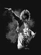Electric Painting Framed Prints - Jimmy Page Framed Print by William Walts