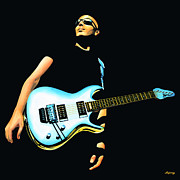 Singer Painting Framed Prints - Joe Satriani  Framed Print by Paul  Meijering