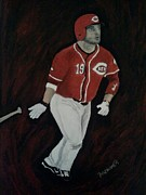 Athletes Painting Prints - Joey Votto Print by Christy Brammer