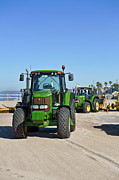 Beach Towel Prints - John Deere Tractor Beach Towel Print by David  Zanzinger