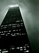 City At Night Posters - John Hancock Building - Chicago Illinois Poster by Michelle Calkins