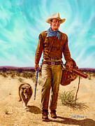John Wayne Paintings - John Wayne HONDO by Dick Bobnick
