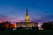 River Jordan Art - Jordan River Temple Sunset by La Rae  Roberts