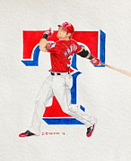 League Painting Prints - Josh Hamilton - Texas Rangers Print by David Straitiff