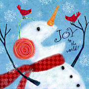 Cardinals Mixed Media - Joyful Snowman by Valerie  Drake Lesiak
