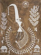 Indian Tribal Art Paintings - Jsm 15 by Jivya Soma Mashe