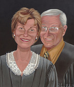 Judge Painting Framed Prints - Judge Judy and Gerald  Framed Print by Susan Roberts
