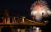 Roberto Clemente Photo Prints - July 4th Fireworks in Pittsburgh Print by Jetson Nguyen
