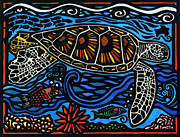 Lino Cut Metal Prints - Kahaluu Honu Metal Print by Lisa Greig