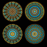 Four Prints - Kaleidoscope Steampunk Series Montage Print by Amy Cicconi
