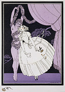 Handkerchief Framed Prints - Karsavina Framed Print by Georges Barbier