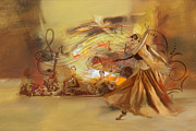 Dancer Paintings - Kathak Dancer 4 by Catf