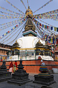 Kathmandu Framed Prints - Kathe Simbhu Stupa and prayer flags in Kathmandu Nepal Framed Print by Robert Preston