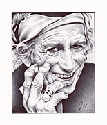 Rock N Roll Drawings Prints - Keith Richards Print by Jamie Warkentin