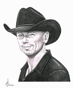 Western Pencil Drawing Prints - Kenny Chesney Print by Murphy Elliott