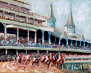 Horses Posters Painting Posters - Kentucky Derby Poster by Todd Bandy