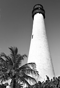Cape Florida Lighthouse Art - Key Biscayne Lighthouse by Rudy Umans