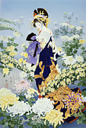 Purple Robe Framed Prints - Kiku Framed Print by Haruyo Morita