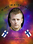 Driver Digital Art Posters - Kimi Raikkonen Poster by Veikko Suikkanen