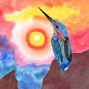 Kingfisher Mixed Media - Kingfisher enjoing sunset by Irina Chernysheva
