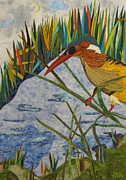 Quilt Collage Tapestries - Textiles Metal Prints - Kingfisher Metal Print by Lynda K Boardman
