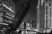 City Scape Metal Prints - Kinzie Street railroad bridge at night in Black and White Metal Print by Sebastian Musial