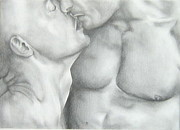 Homoerotic Drawings Originals - Kiss by Michael Flynt