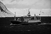Fishing Trawler Prints - Km Ostervold Purse Seiner Pelagic Trawler Fishing Vessel In Rough Seas In Northern Norway Europe Print by Joe Fox