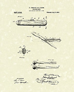 Sports Art Drawings Metal Prints - Knife 1909 Patent Art Metal Print by Prior Art Design