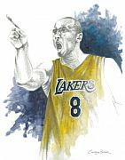 Lakers Painting Prints - Kobe Bryant Print by Christiaan Bekker