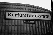 Kudamm Art - Kurfurstendamm street sign Berlin Germany by Joe Fox
