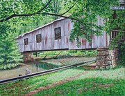 Covered Bridge Paintings - Kymulga Covered Bridge by Mike Ivey
