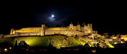 Languedoc-roussillon Posters - La Cite de Carcassonne by night Poster by Ruben Vicente