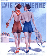 Swimsuits  Swimming Costumes Posters - La Vie Parisienne 1935 1930s France Poster by The Advertising Archives