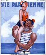Swimsuits  Swimming Costumes Posters - La Vie Parisienne 1936 1930s France Poster by The Advertising Archives
