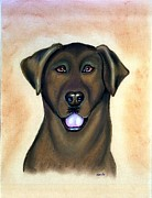 Labrador Retriever Pastels - Labrador Retriever Chocolate by Olde Time  Mercantile