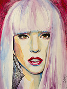 Icon Drawings Posters - Lady Gaga Poster by Slaveika Aladjova