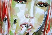 Lady Gaga Painting Posters - LADY GAGA - watercolor portrait Poster by Fabrizio Cassetta