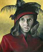 Feathered Hat Paintings - Lady in Red by Mary Ellen Anderson