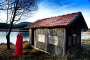 Lady In Lake Posters - Lady in Red Poster by Okan YILMAZ
