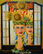 Lady In The Mirror Print by Bernadette Krupa