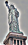 Nyc Digital Art Metal Prints - Lady of Liberty Metal Print by Linda  Parker