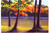 Lake Trees Print by MaryAnn Stafford