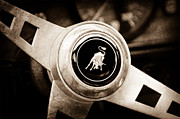 Black And White Photos Prints - Lamborghini Steering Wheel Emblem Print by Jill Reger