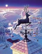 Weathervane Painting Prints - Lands End Weathervane Print by Robin Moline
