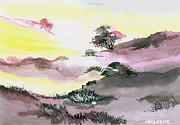 Winter Scene Drawings - Landscape 1 by Anil Nene